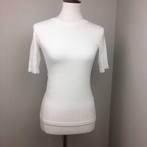 Zara Knit Whit Short Sleeve Tee